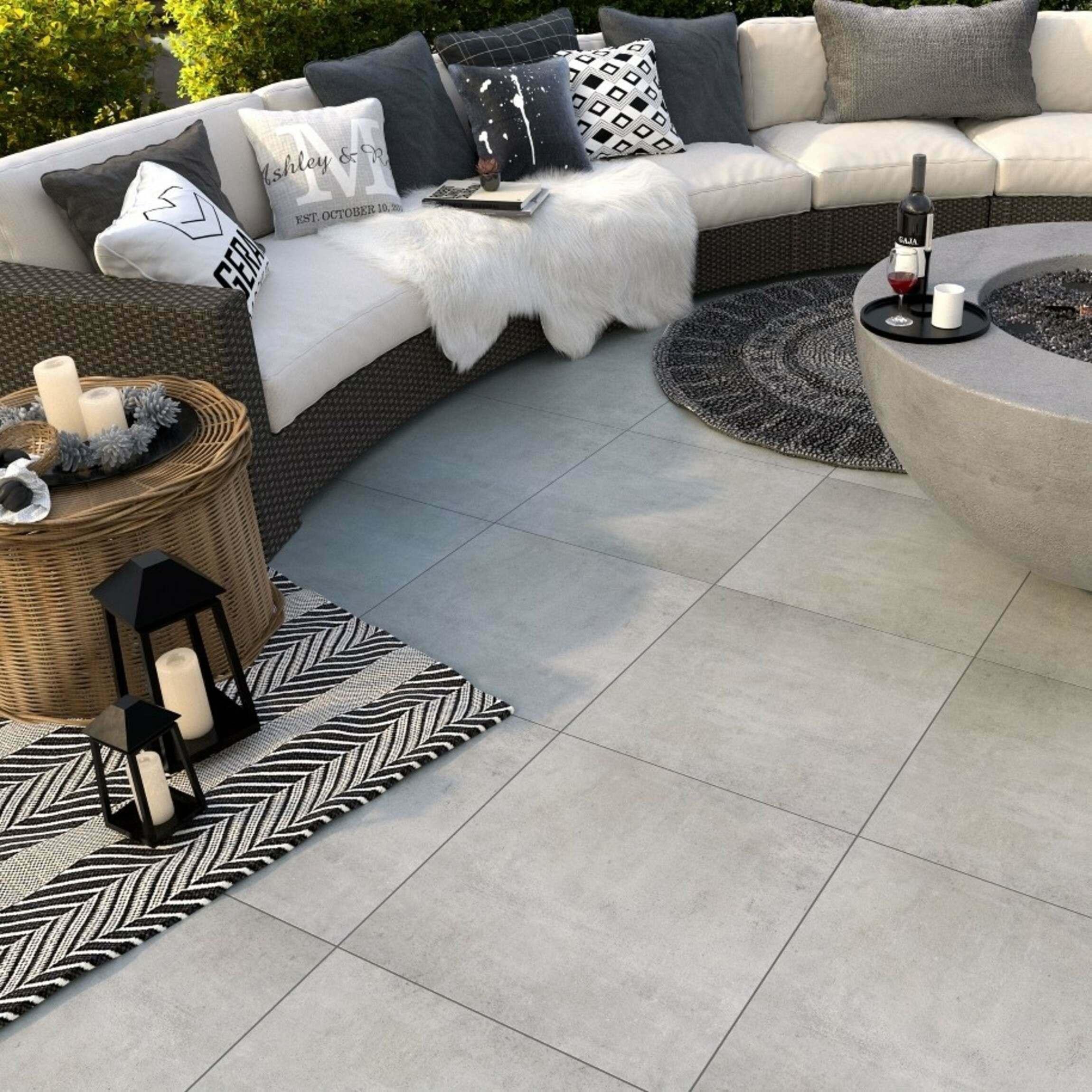 Beton Soft Mid Outdoor Slab Tiles 600x600