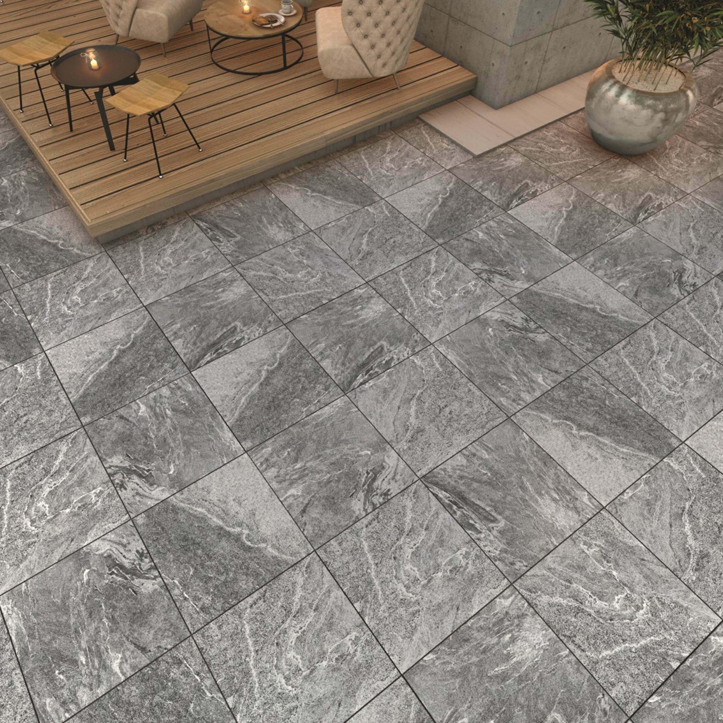 Enstone Anthracite Outdoor Slab Tiles 600x600