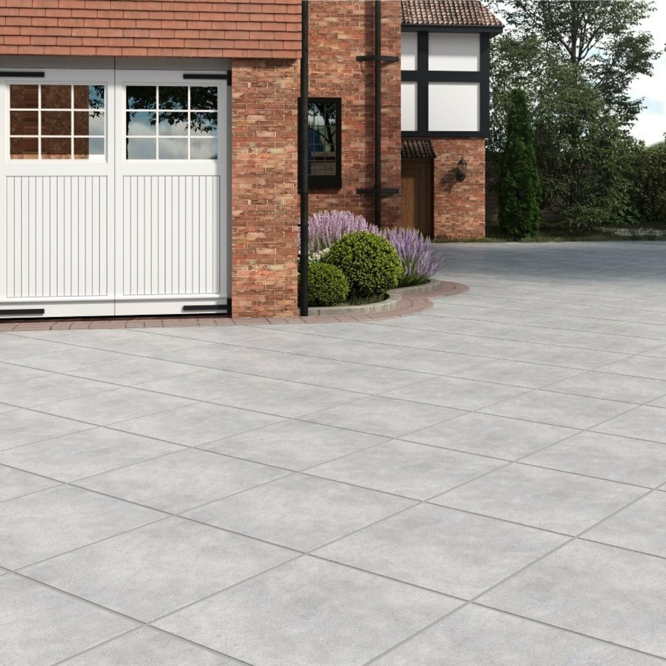 Livermore Pearl Outdoor Slab Tiles 610x610
