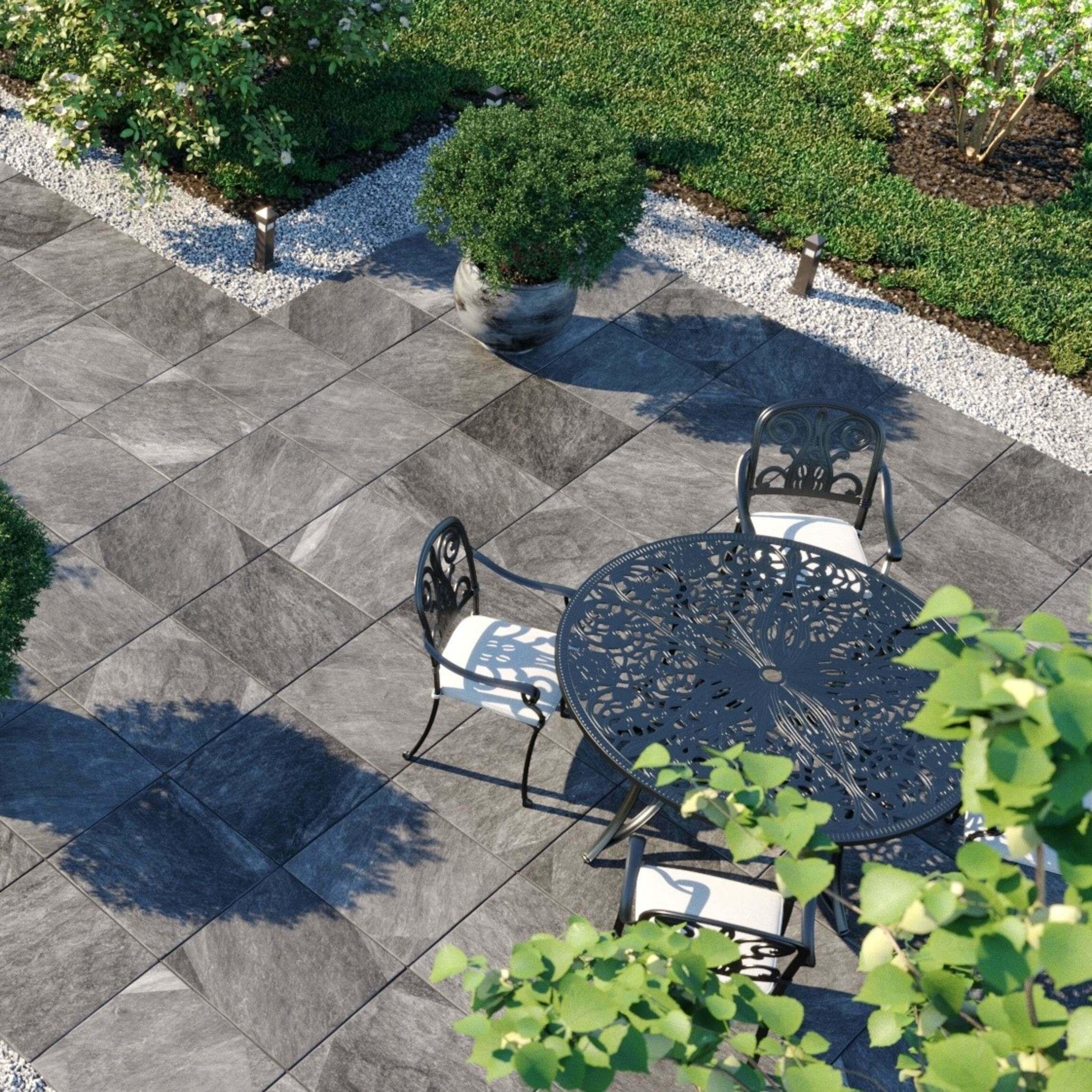 Enstone Grey Outdoor Slab Tiles 600x600